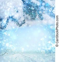 résumé, hiver, fond, noël