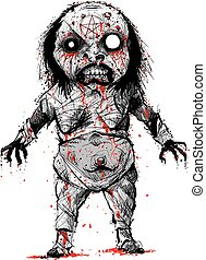 Undead Demon Witch - A cartoon character of a bloody,...