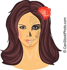 Makeup to the Day of the Dead. Vector illustration