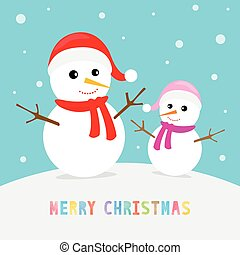 Snowmen with Merry Christmas text.