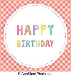 Happy birthday card with colorful watercolor text