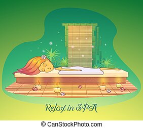 Girl or woman relaxing, lying at spa salon
