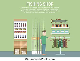 Sport or hobby fishing shop interior. Supermarket with...
