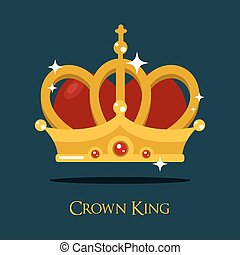 Crown of king or queen, princess vector icon
