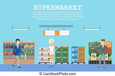 Supermarket with food and people or buyers