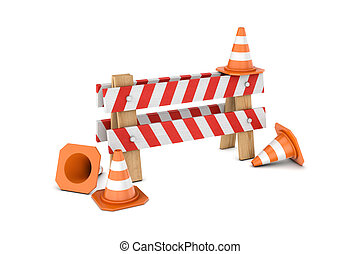 Rendering of traffic cones and 'under construction' barrier...