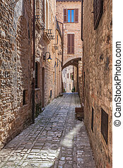 Assisi, Italy - Medieval stepped street in the Italian hill...