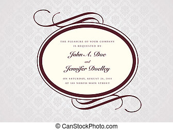 Vector Oval Frame and Sample Text - Vector floral background...