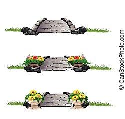 stone bridge with flowers set