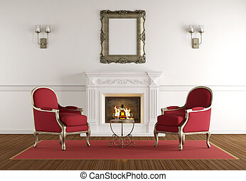 White fireplace in a classic living room