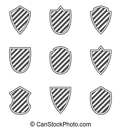 Vector Black Shields set on white background