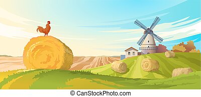 Vector illustration rural summer landscape with a windmill...