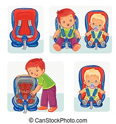 Set icons of small children in car seats