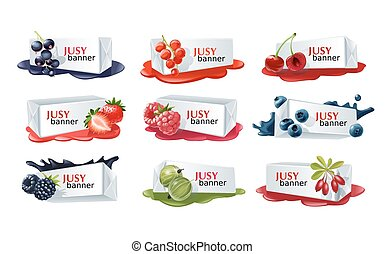 Set of sweet berry vector banners. - Set of sweet berry...