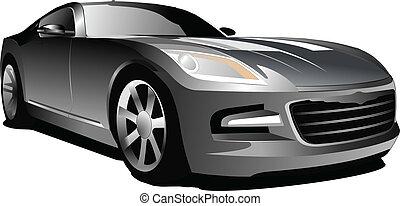 Gray  car. Sedan. Vector illustrat