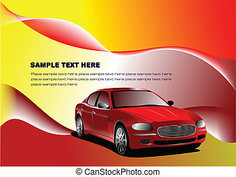 Grunge background with car images Vector illustration