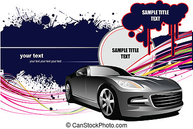 Grunge background  with car images. Vector illustration