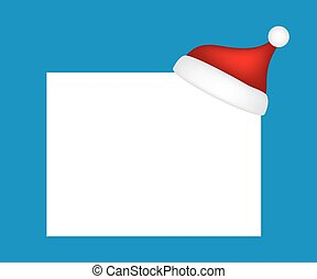 Hat of Santa Claus with a blank banner