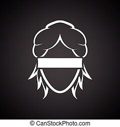 Femida head icon. Black background with white. Vector...