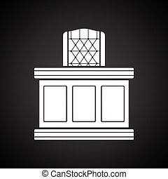 Judge table icon. Black background with white. Vector...