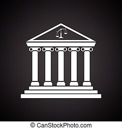 Courthouse icon. Black background with white. Vector...
