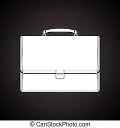 Suitcase icon. Black background with white. Vector...