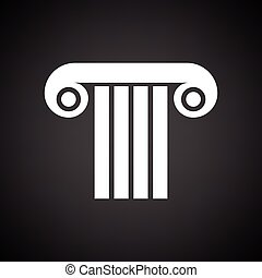 Antique column icon. Black background with white. Vector...