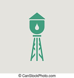 Water tower icon. Gray background with green. Vector...