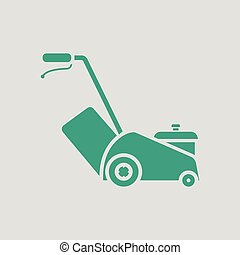 Lawn mower icon. Gray background with green. Vector...
