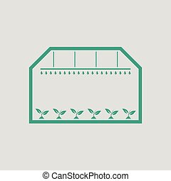 Greenhouse icon. Gray background with green. Vector...