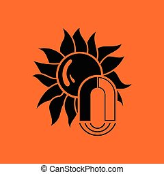 Magnetic storm icon. Orange background with black. Vector...