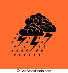 Thunderstorm icon. Orange background with black. Vector...