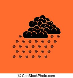 Snowfall icon. Orange background with black. Vector...