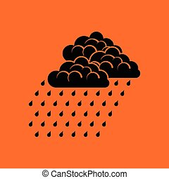 Rainfall icon. Orange background with black. Vector...