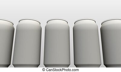 Generic white cans against white background. Soft drinks or...