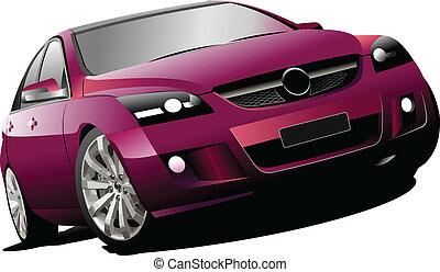 Purple  car sedan on the road.