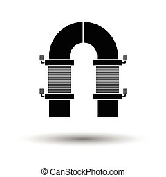 Electric magnet icon. White background with shadow design....