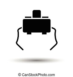 Micro button icon. White background with shadow design....