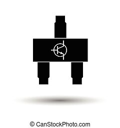 Smd transistor icon. White background with shadow design....