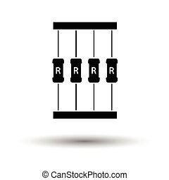 Resistor tape icon. White background with shadow design....