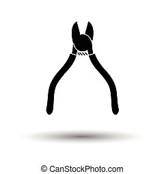 Side cutters icon. White background with shadow design....