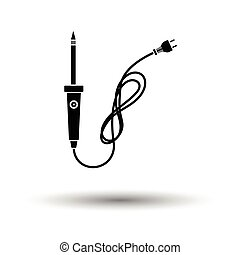 Soldering iron icon. White background with shadow design....