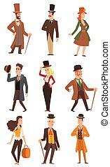 Vector design victorian people. - Vector design of...