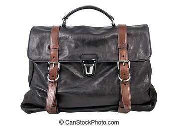 luxury black leather male travel bag isolated on white