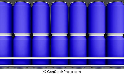 Blue cans at grocery store. Soda or beer on supermarket...