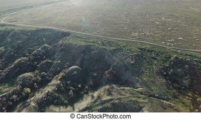 Flying over the iron ore quarry. aerial survey
