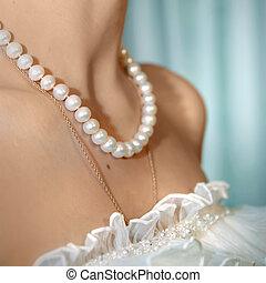 boda, foto, perla, cuello