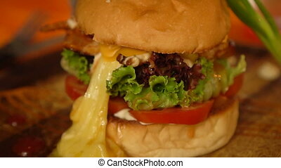 Closeup of home made burger - Closeup of beautifully served...
