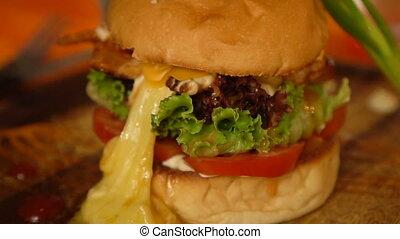 Closeup of home made burger - Closeup of beautifully served...