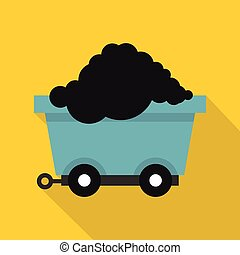 Cart on wheels with coal icon, flat style - Cart on wheels...